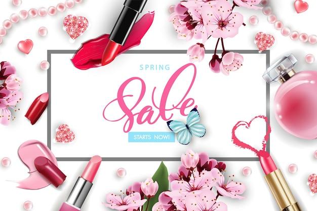Modelo de anúncio cosmético de flor de cerejeira para venda de primavera, modelo vetorial