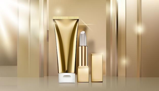 Modelo de anúncio cosmético dourado, um tubo branco e dourado