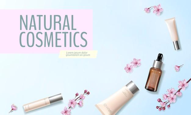 Modelo de anúncio cosmético orgânico de flor de cerejeira. pele essência vitamina creme rosa primavera flor