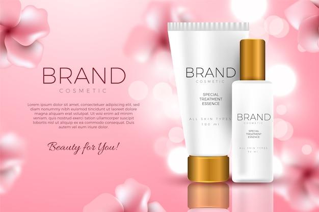 Modelo de anúncio cosmético para tratamento de pele