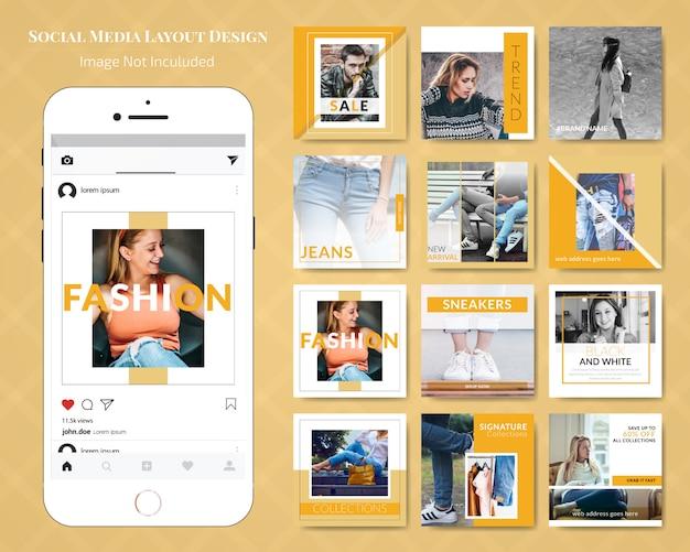Modelo de anúncio de banner de venda de mídia social de moda