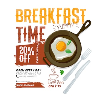 Modelo de anúncio de café da manhã