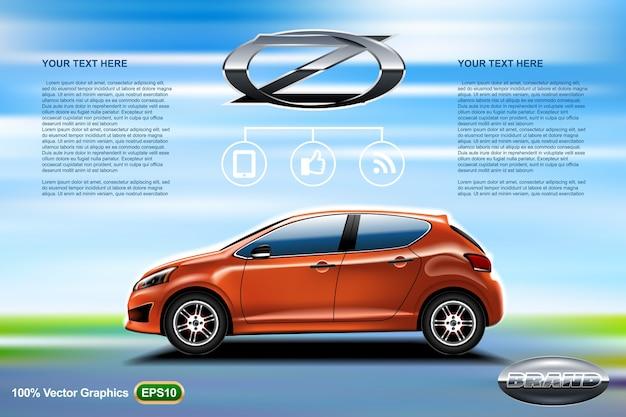 Modelo de anúncio de carro com maquete, com logotipo do veículo no centro