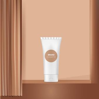 Modelo de anúncio de cosméticos no palco e cortinas marrons, apresentação, display