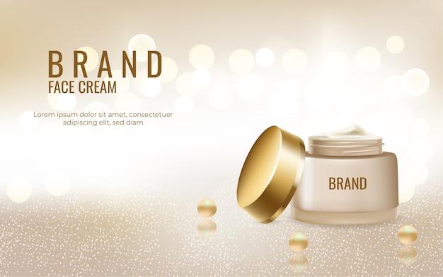 Modelo de anúncio de cosméticos para creme facial