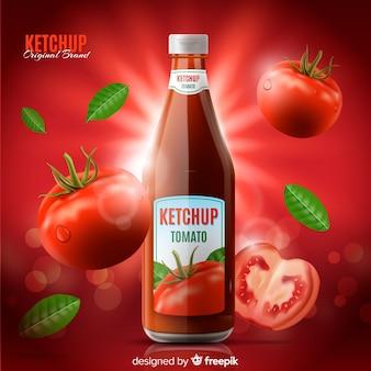 Modelo de anúncio de ketchup