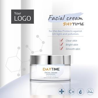 Modelo de anúncio de luxo para maquete elegante de frasco de produtos para a pele definido em amostras de creme branco