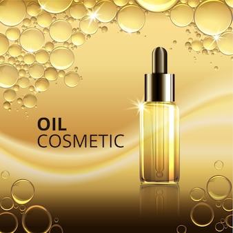 Modelo de anúncio de óleo cosmético brilhante