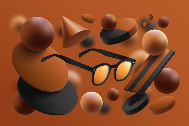 Modelo de anúncio de produto realista com óculos de sol