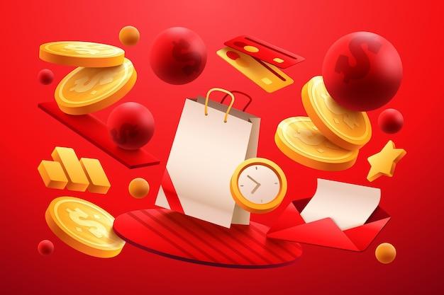 Modelo de anúncio de produto realista com sacola de compras