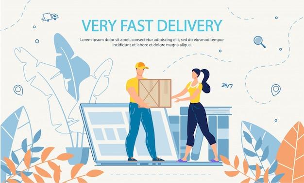 Modelo de anúncio de serviço online de entrega extremamente rápida