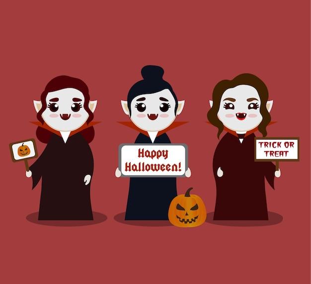 Modelo de anúncio de vampiros femininos dos desenhos animados