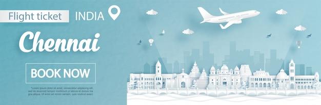 Modelo de anúncio de voos e passagens com viagens para chennai, na índia, conceito e marcos famosos na ilustração do estilo de corte de papel