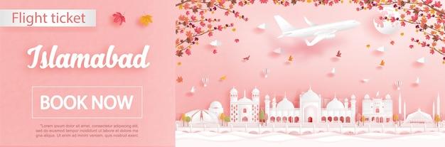 Modelo de anúncio de voos e passagens com viagens para islamabad, paquistão, na temporada de outono, com folhas de bordo caindo e marcos famosos na ilustração do estilo de corte de papel