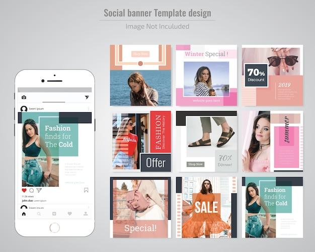 Modelo de anúncio - mídia social de desconto de moda