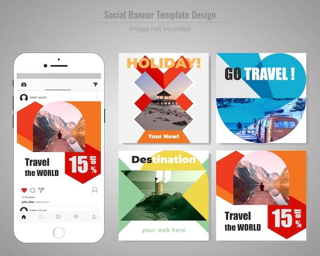 Modelo de anúncio - mídia social de viagens