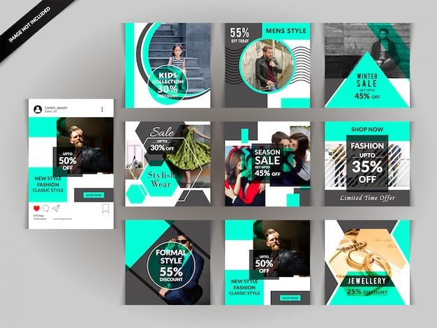Modelo de anúncio - mídia social verde moda