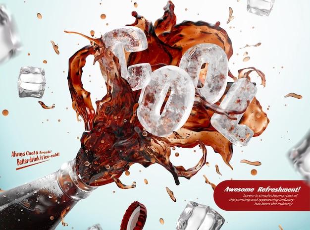 Modelo de anúncio para refrigerante de cola fresco com respingos saindo da borda da garrafa e blocos de gelo congelado