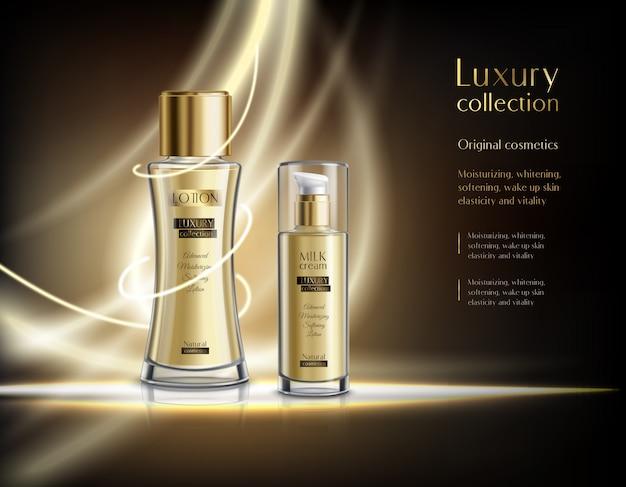 Modelo de anúncio realista de cosméticos de luxo