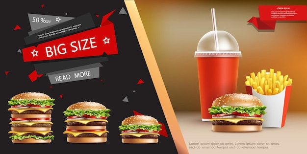 Modelo de anúncio realista de fast food com batatas fritas refrigerantes e hambúrgueres apetitosos de diferentes tamanhos ilustração
