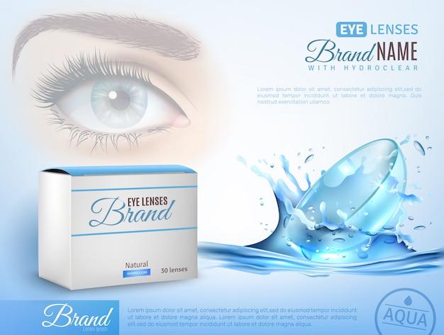 Modelo de anúncio realista de lentes de contato