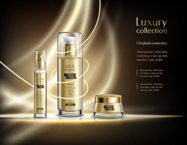 Modelo de anúncio realista de produtos cosméticos