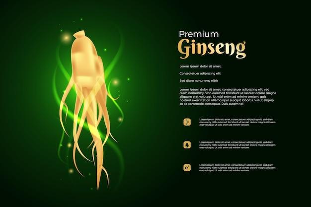 Modelo de anúncio realista ginseng