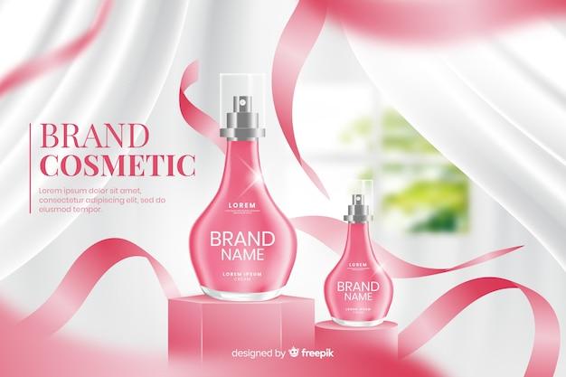 Modelo de anúncio realista para perfume
