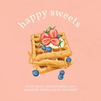 Modelo de anúncio waffles desenhado à mão para instagram