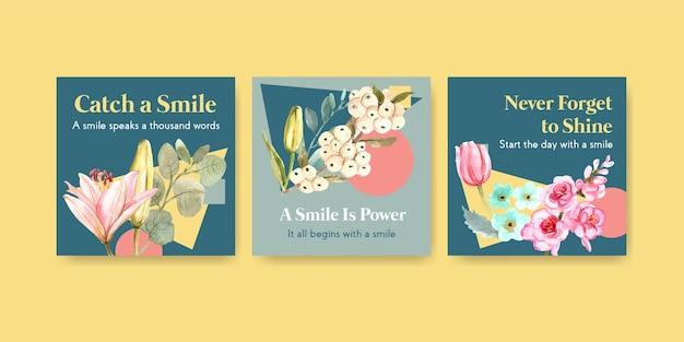 Modelo de anúncios com design de buquê de flores para o conceito de dia mundial do sorriso para marketing de ilustração vetorial aquarela.