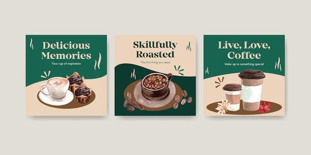 Modelo de anúncios com design de conceito de dia internacional do café para propaganda e marketing de aquarela