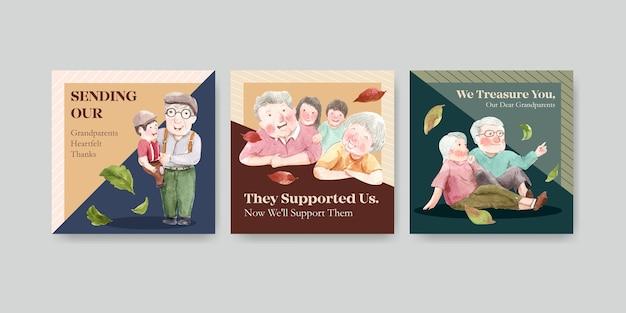 Modelo de anúncios com design de conceito de dia nacional dos avós para propaganda e marketing de aquarela.