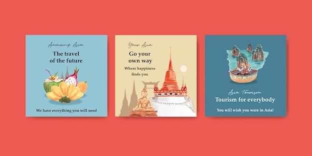 Modelo de anúncios com design de conceito de viagens na ásia para marketing e anunciar ilustração vetorial de aquarela