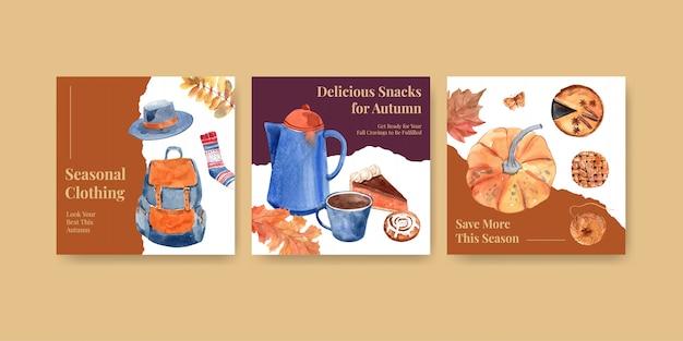 Modelo de anúncios com design de conceito diário de outono para publicidade e marketing em aquarela