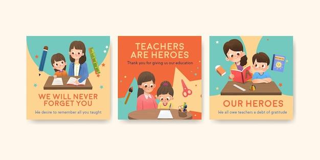 Modelo de anúncios com design de conceito do dia do professor