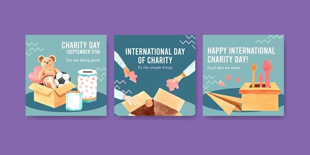 Modelo de anúncios com design de conceito do dia internacional da caridade para propaganda e marketing de aquarela.