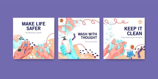 Modelo de anúncios com design de conceito global de dia de lavagem das mãos para anúncio e folheto em aquarela
