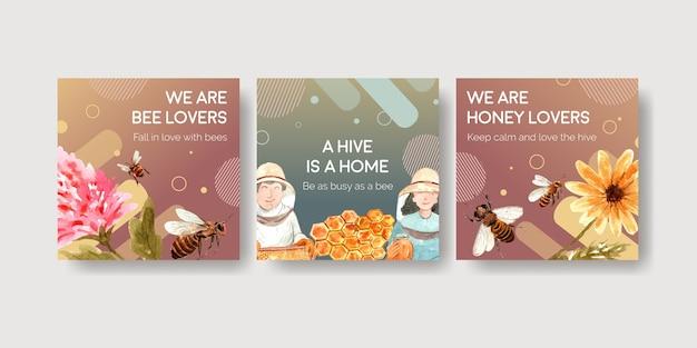 Modelo de anúncios com mel para marketing e propaganda em aquarela