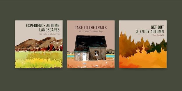 Modelo de anúncios com paisagem no outono design para instagram post