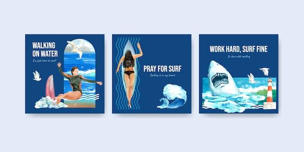 Modelo de anúncios com pranchas de surf em design de praia para publicidade e marketing de ilustração vetorial aquarela