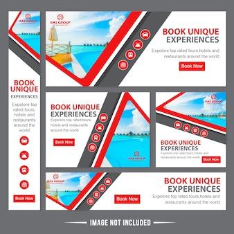 Modelo de anúncios de banner da web de viagens