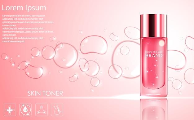Modelo de anúncios de cosméticos com design de embalagem de garrafa-de-rosa