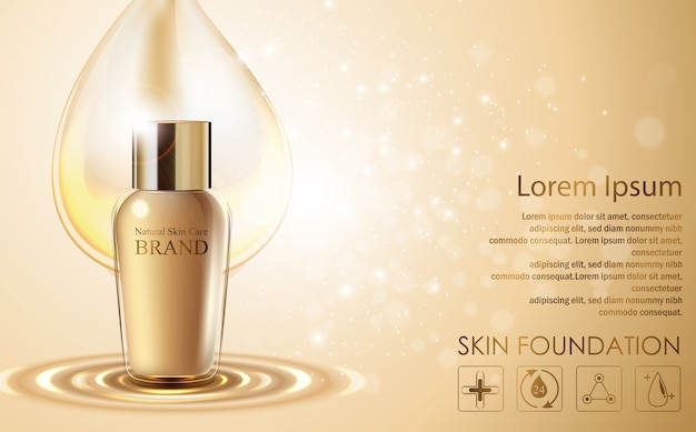 Modelo de anúncios de cosméticos com design de embalagem de garrafa dourada