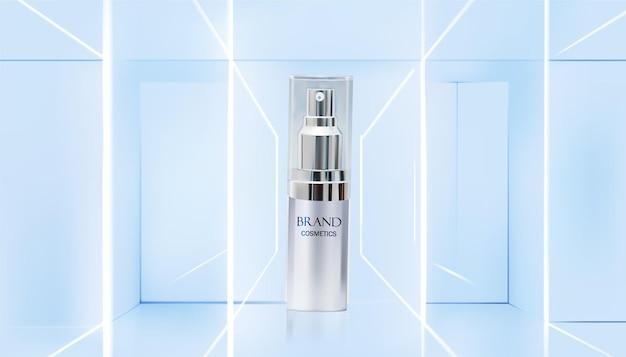 Modelo de anúncios de cosméticos com design de garrafa