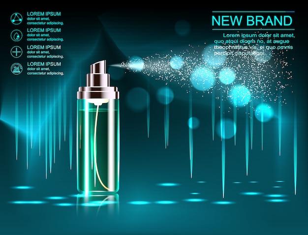 Modelo de anúncios de cosméticos requintados, maquete de cosméticos em branco com fundo cintilante bokeh e efeito deslumbrante, frasco de spray cosmético, tubo.