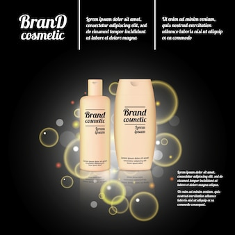 Modelo de anúncios de garrafas de cosméticos 3d realistas