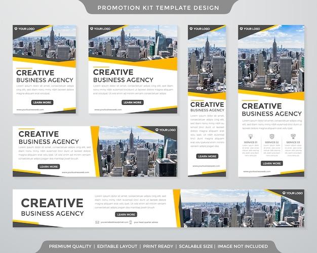 Modelo de anúncios de kit de promoção minimalista estilo premium