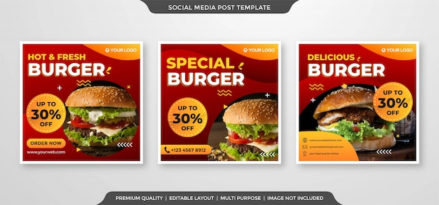Modelo de anúncios de mídia social de hambúrguer