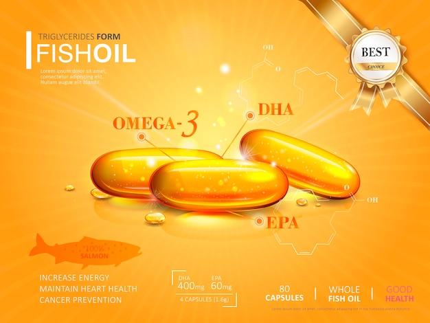 Modelo de anúncios de óleo de peixe