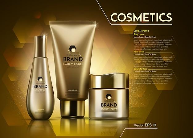 Modelo de anúncios de pacote realista de cosméticos de ouro.